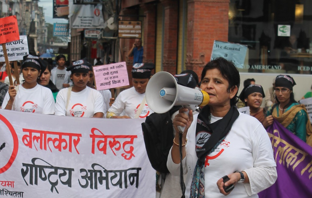 Women participate in a mass demonstration against sexual violence in Nepal.