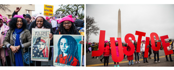 "Left: Three women smile and pose for a picture, two of them hold protest signs that are images of women, behind them are marchers at the Women's March on Washington on January 21, 2017. Right: Seven women stand in the middle of the street each holding a life-size red colored letter to make the word ""JUSTICE,"" at the Women's March on Washington on January 21, 2017, the Washington monument can be seen in the background."
