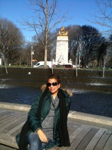 Roshmi Goswami sitting on a bench