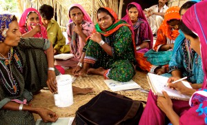 Women discuss electoral candidates in Pakistan