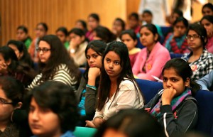 Students at Delhi University listen to panelists