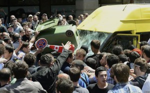 Counter-protestors attack LGBTQI demonstrators in Tbilisi, Georgia