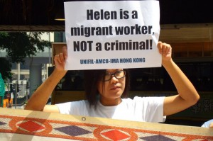 A woman advocates on behalf of migrant workers' rights in Hong Kong