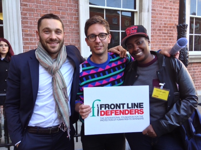 Urgent Action Fund's Danny Kaufman with two young activists