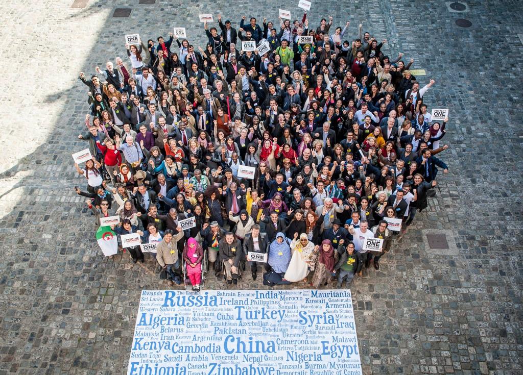 Participants gather outside of the Dublin Castle