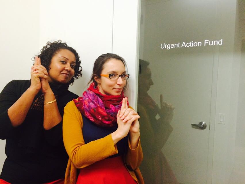 Director of Programs, Shalini Eddens, and Senior Program Officer, Nathalie Margi, defending love and justice at our new offices in New York.
