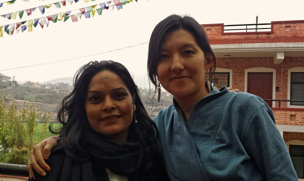 Tika Dahal, founder of founder of the Nepal Disabled Women Association , with Meerim Ilyas, Senior Program Officer, at an Urgent Action Fund Regional Advisor convening in Nepal, February 2015. Photo Credit: Laxmi Ghalan, Mitini Nepal