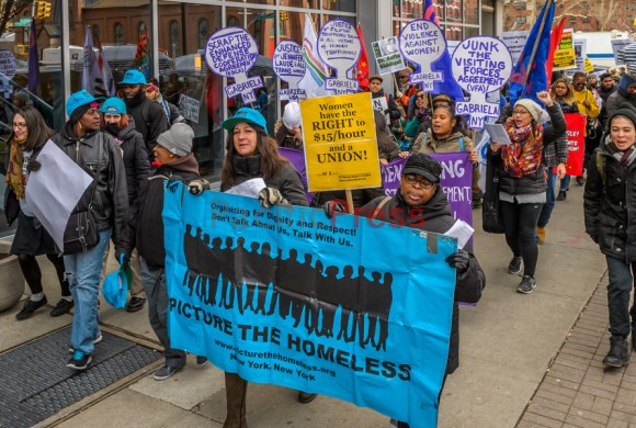PTH marches at the International Working Women's Day 2016: Unite & Fight for Liberation rally and march in Harlem. Photo by by Erik McGregor