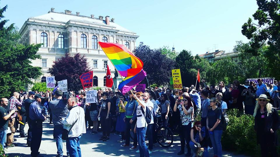 Pro-choice demonstrators participate in a rally in front of the Croatian Constitutional Court in Zagreb, Croatia on May 21, 2016