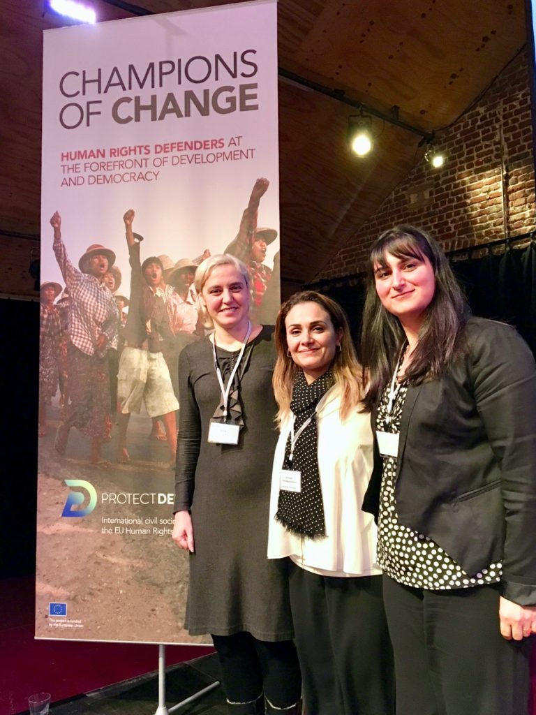WHRDS: Olga Karatch, Leyla Ferman, and Reyhan Yalcindag Baydemir at the ProtectedDefenders.eu Annual Meeting in Brussels